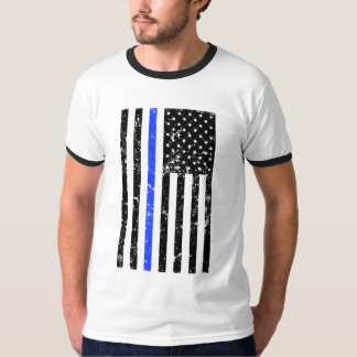 Thin Blue Line - Police Officer - Distressed Flag T-Shirt