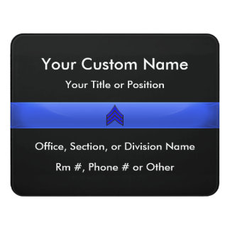 Thin Blue Line Police Sergeant (gold trim) Door Sign