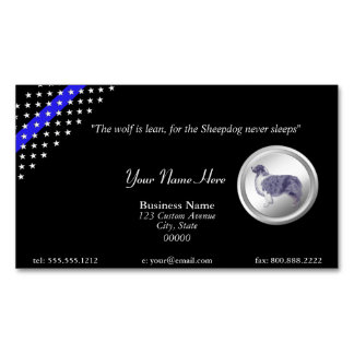 "Thin Blue Line Police ""The Sheepdog Never Sleeps"" Magnetic Business Card"