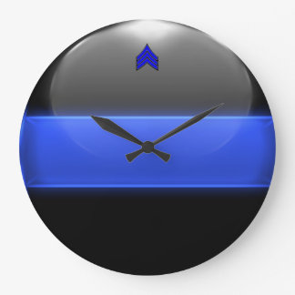 Thin Blue Line Sergeant Stripes (white trim) Large Clock
