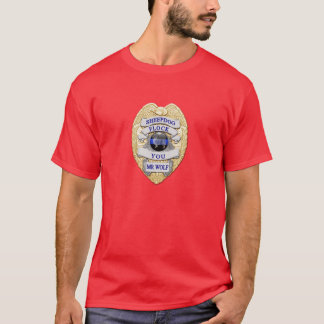 Thin Blue Line Sheepdog Badge TBL button T-Shirt
