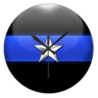 Thin Blue Line - Silver Star Police Chief Insignia Wallclocks