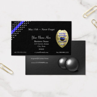 Thin Blue Line Stars and Stripes 4 Badge Options Business Card