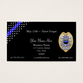 Thin Blue Line Stars and Stripes Badge Business Card