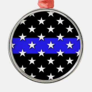 Thin Blue Line Stars and Stripes Metal Ornament