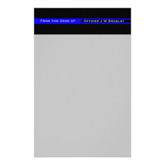 Thin Blue Line Striped Police Lives Matter Support Stationery Design