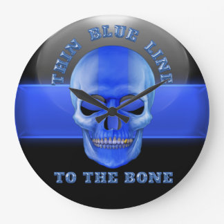 Thin Blue Line to the Bone Large Clock