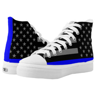 Thin Blue Line US Flag graphic on High Tops