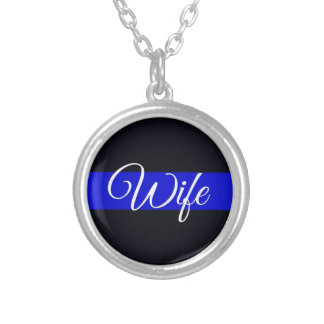 Thin Blue Line Wife Silver Plated Necklace
