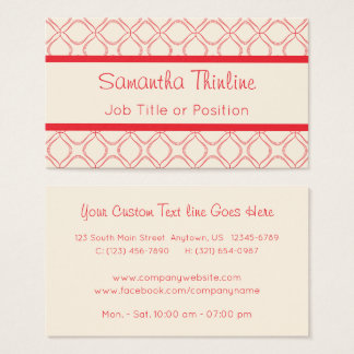 Thin Line Deep Red Quatrefoil on Pale Parchment Business Card