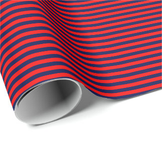 Thin Navy Blue and Red Stripes Wrapping Paper