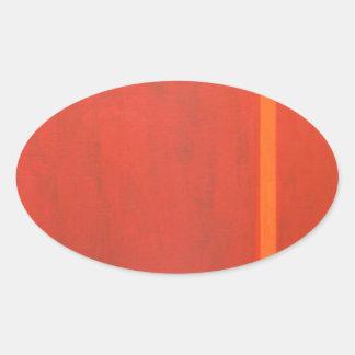 Thin Orange Band (geometric minimal expressionism) Oval Sticker