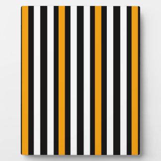 thin orange black stripes plaque