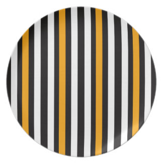 thin orange black stripes plate