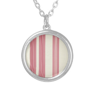 Thin Pink Vertical Stripes Candy Cane Inspired Round Pendant Necklace