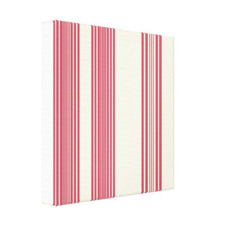 Thin Pink Vertical Stripes Candy Cane Inspired Stretched Canvas Print