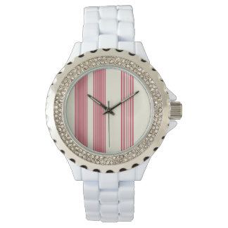 Thin Pink Vertical Stripes Candy Cane Inspired Wristwatches