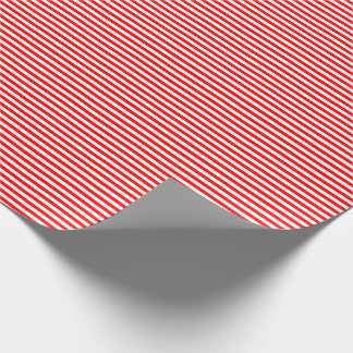 Thin Red and White Stripes Wrapping Paper