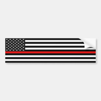 Thin Red Line American Flag Bumper Sticker