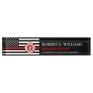 Thin Red Line American Flag Custom Desk Nameplate