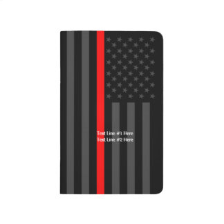 Thin Red Line American Flag graphic and text on a Journal