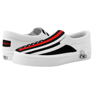 Thin Red Line American Flag graphic on Slip-On Shoes
