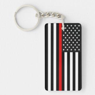 Thin Red Line American Flag Key Ring