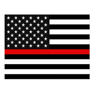 Thin Red Line American Flag Postcard