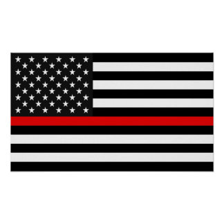 Thin Red Line American Flag Poster
