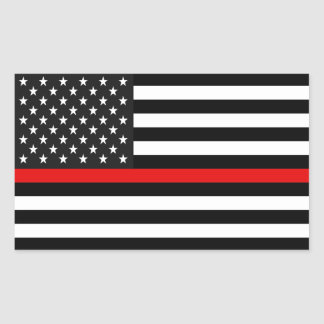 Thin Red Line American Flag Rectangular Sticker