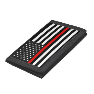 Thin Red Line American Flag Trifold Wallets