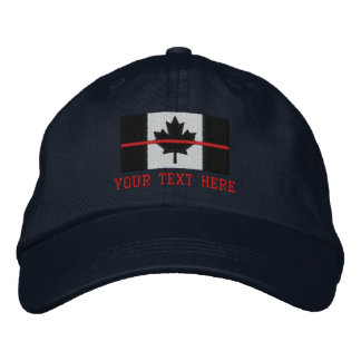 Thin Red Line Canadian Flag Personalize it Embroidered Hat