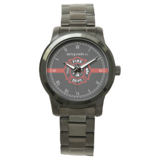 Thin Red Line Custom Name Fire Rescue Serviceman Watch