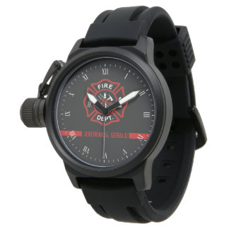Thin Red Line Custom Name Stripe Firefighter Watch