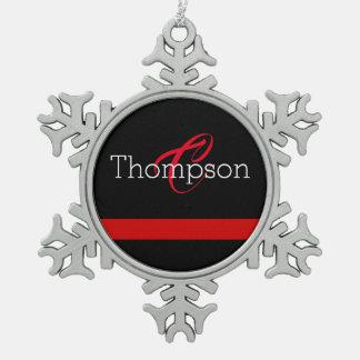 Thin Red Line Custome Monogram Christmas Ornament