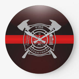 Thin Red Line Fire Station House Large Clock