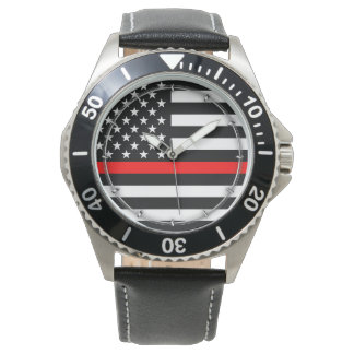 Thin Red Line Graphic on a US American Flag on a Watch