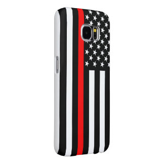 Thin Red Line Graphic on a US Flag on a Samsung Galaxy S6 Cases