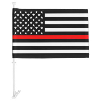 Thin Red Line Graphic on USA Flag on a