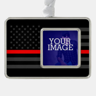 Thin Red Line Grey US Flag Your Image on a Silver Plated Framed Ornament