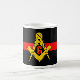 THIN RED LINE MASONIC FIREFIGHTER COFFEE MUG