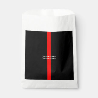 Thin Red Line Symbolic Memorial with text on a Favour Bag