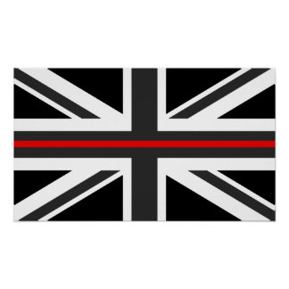 Thin Red Line UK Flag Poster