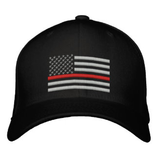 Thin Red Line US Flag in Silver Embroidered Hat