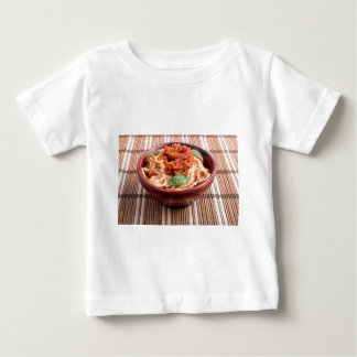 Thin spaghetti with tomato relish and basil leaves baby T-Shirt