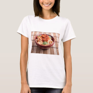 Thin spaghetti with tomato relish and basil leaves T-Shirt