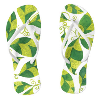 Thin Strap Flip Flops with Abstract Green Leaves