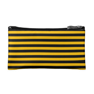 Thin Stripes - Black and Amber Cosmetics Bags