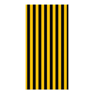 Thin Stripes - Black and Amber Customized Photo Card