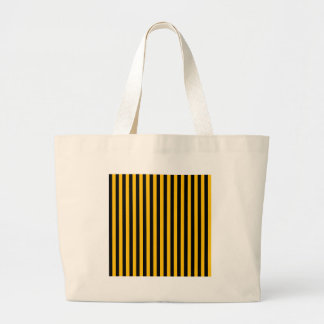 Thin Stripes - Black and Amber Large Tote Bag